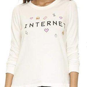Wildfox Internet Sweater Raw Distressed Hem Cream